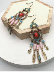 Ethnic Mixed Color Beads Fringe Earrings -