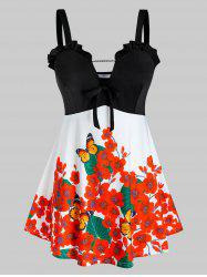 Plus Size Flower Butterfly Print Frilled Backless Knotted Tunic Tank Top -