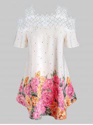Plus Size Flower Cold Shoulder Openwork Panel Tunic Tee -