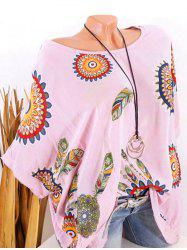 Plus Size Batwing Sleeve Tribal Feather Print Sequin Tee -
