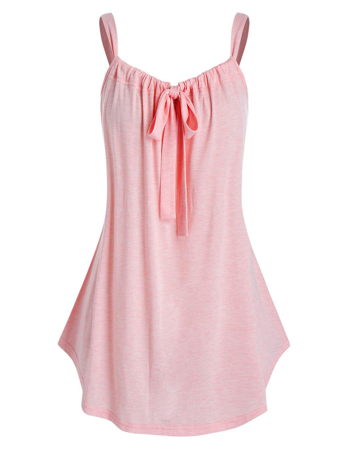 Plus Size Tie Front Curved Tunic Tank Top Rosegal