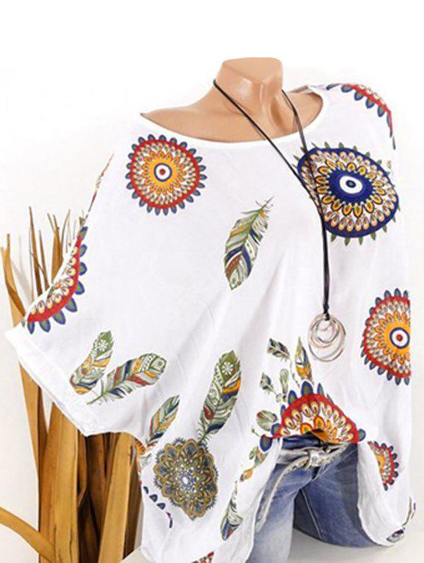 Shops Plus Size Batwing Sleeve Tribal Feather Print Sequin Tee