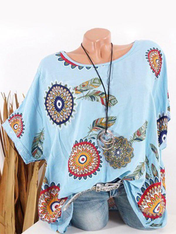 Fashion Plus Size Batwing Sleeve Tribal Feather Print Sequin Tee