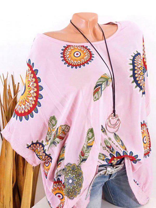 Best Plus Size Batwing Sleeve Tribal Feather Print Sequin Tee