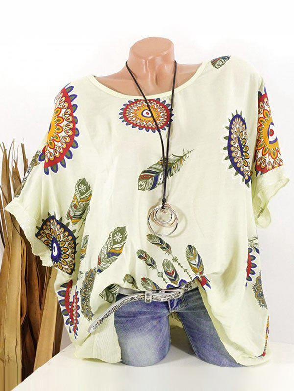 Fancy Plus Size Batwing Sleeve Tribal Feather Print Sequin Tee