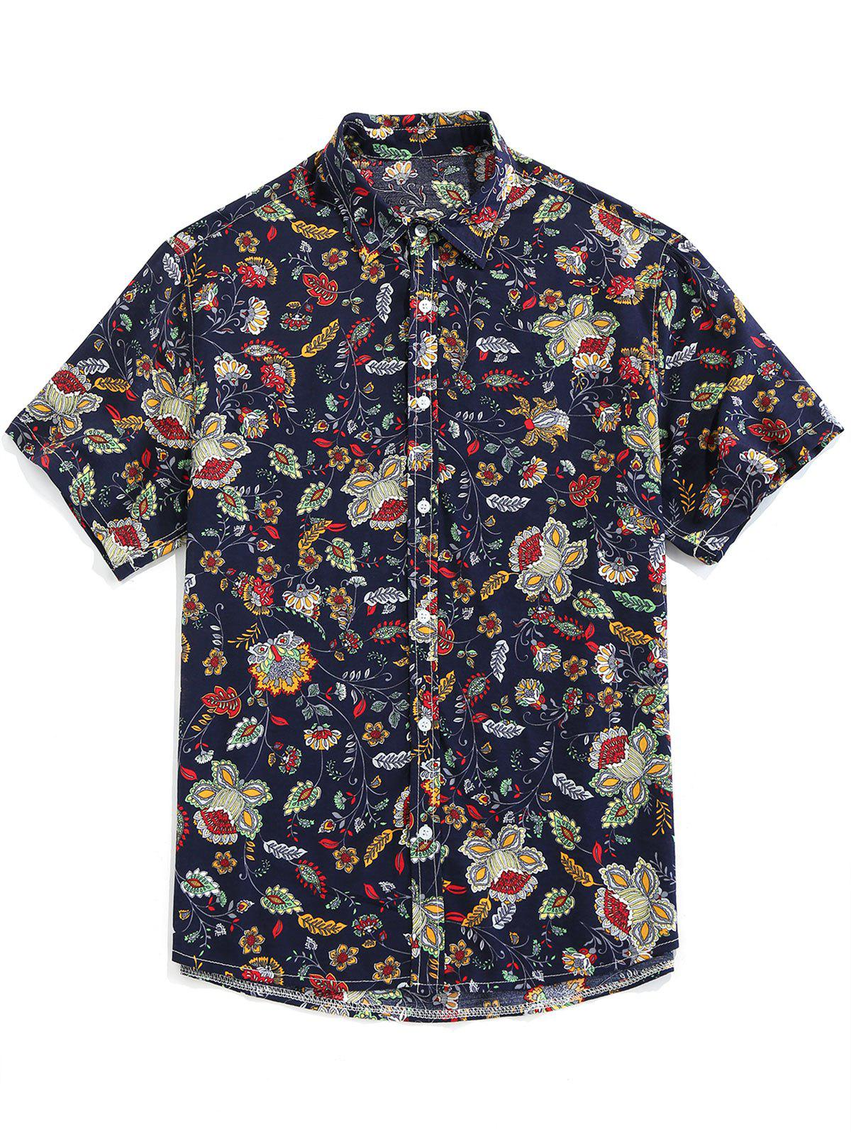 Cheap Floral Print Button Up Vintage Shirt