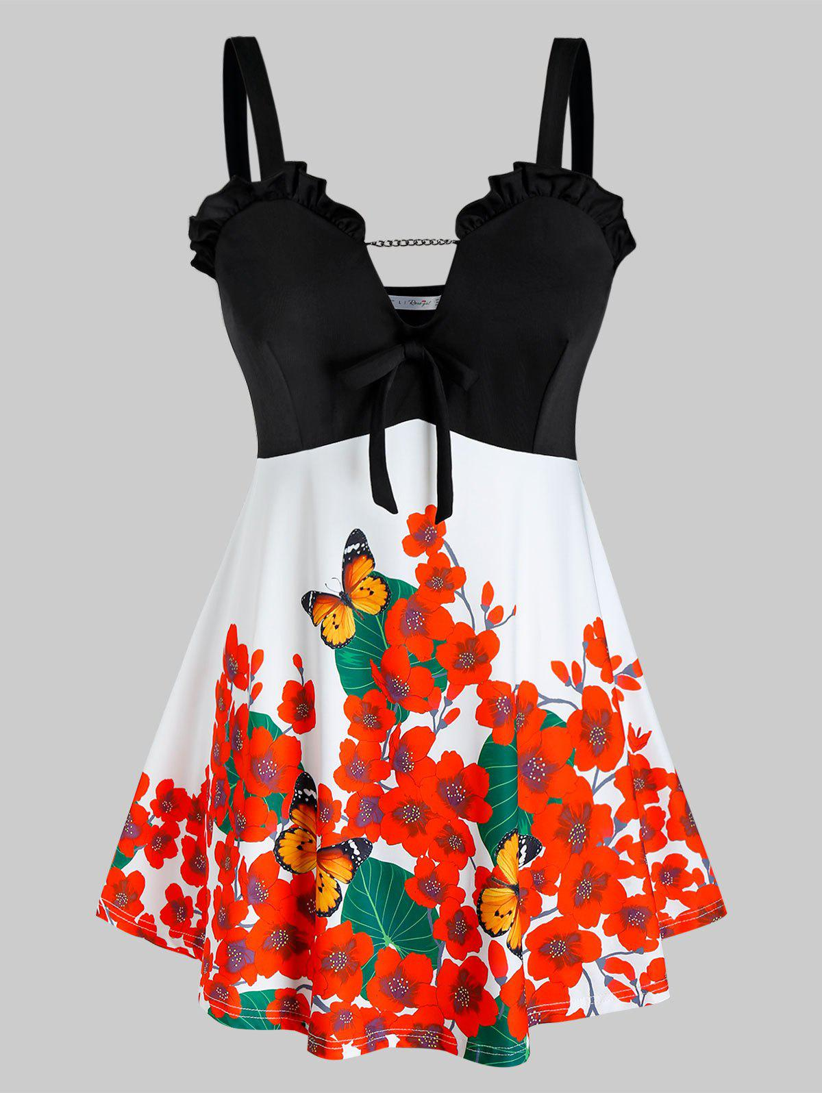 Outfits Plus Size Flower Butterfly Print Frilled Backless Knotted Tunic Tank Top