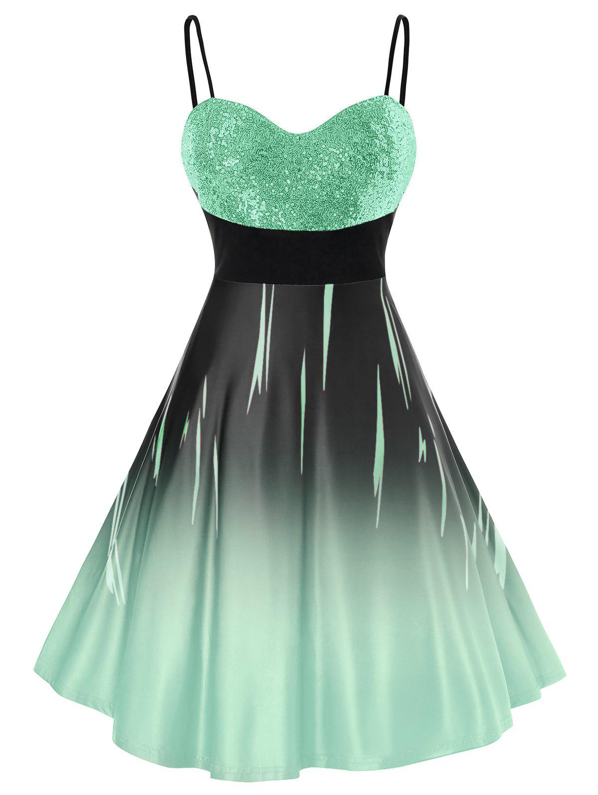 Plus Size Sparkly Sequined Ombre Cami Mini Prom Dress фото