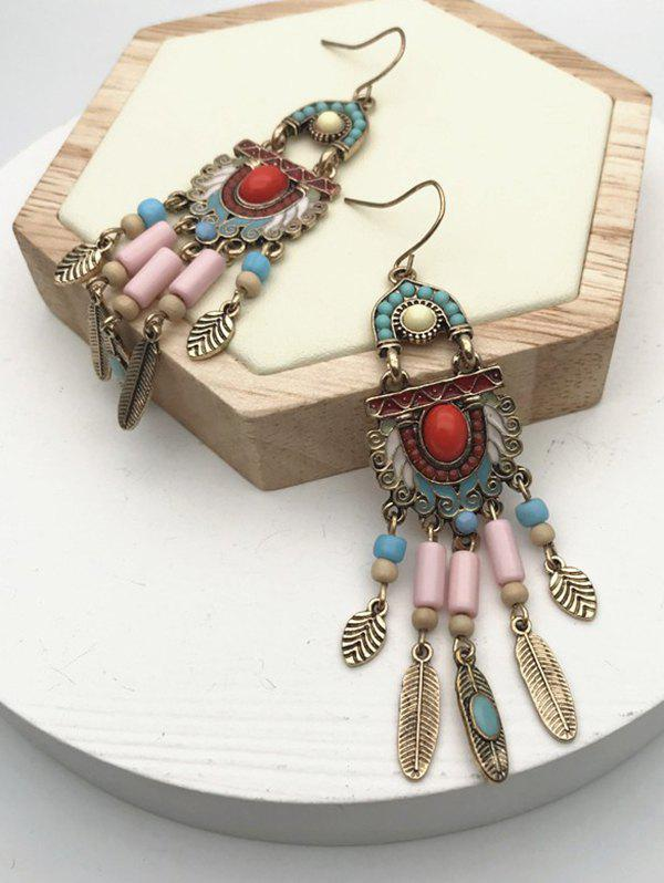Outfit Ethnic Mixed Color Beads Fringe Earrings