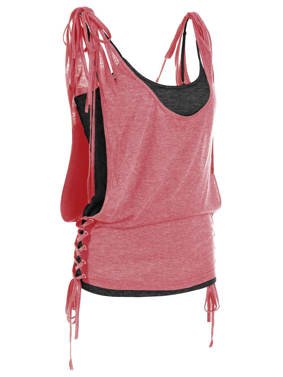 New Tie Shoulder Lace Up Top and Camisole Set