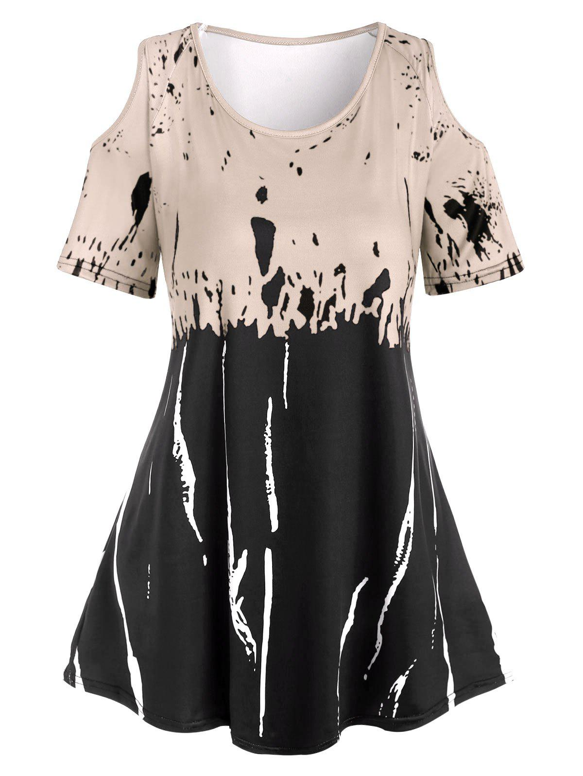 Outfits Plus Size Spatter Cold Shoulder T Shirt