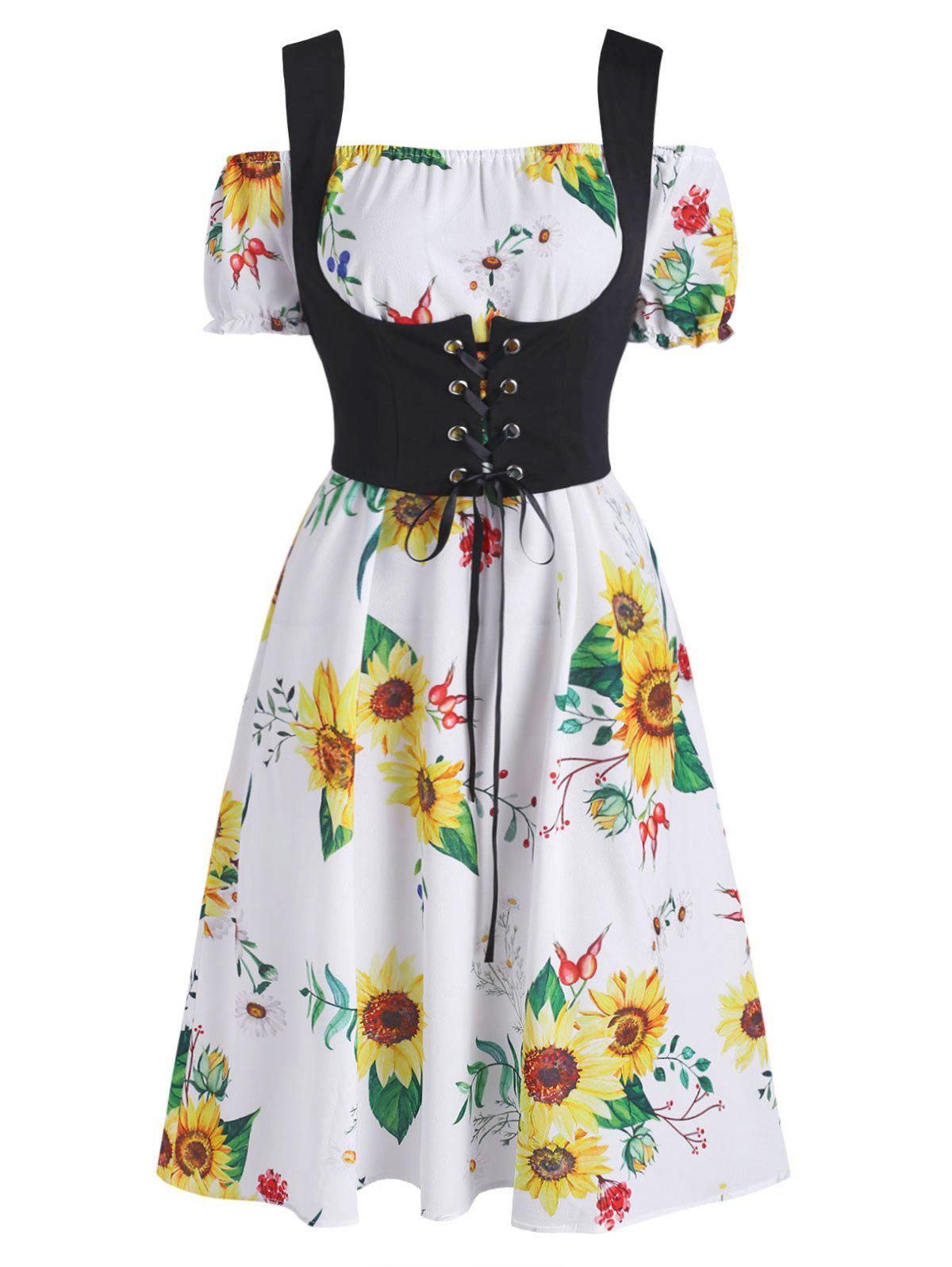 Outfits Off The Shoulder Sunflower Dress and Lace-up Waistcoat Set