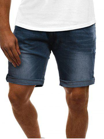 Stitching Scratch Denim Shorts - DEEP SKY BLUE - 2XL