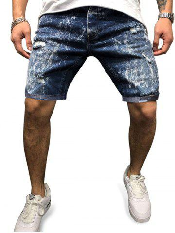Distressed Destroy Wash Jean Shorts - BLUE - XL