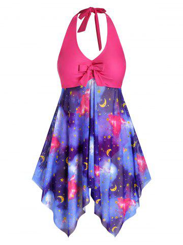 Plus Size Galaxy Moon and Star Mesh Knot Handkerchief Tankini Swimwear - RED - L