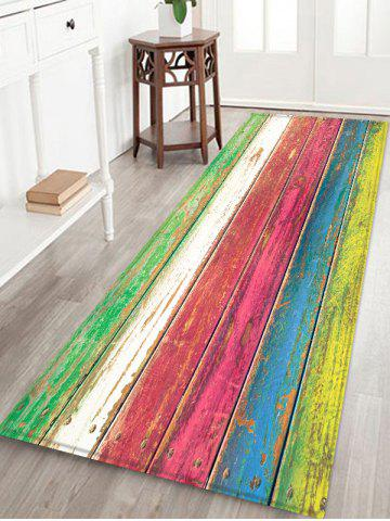Colorful Wood Board Patterned Water Absorption Area Rug