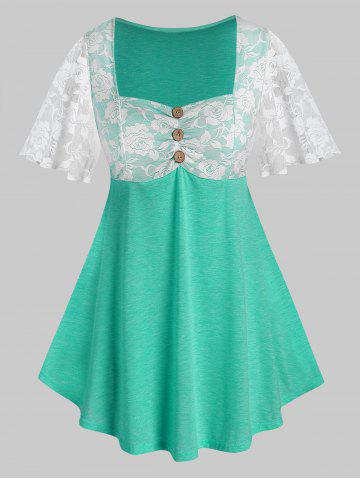 Plus Size Lace Sheer Flutter Sleeve Square Neck Tee - MEDIUM TURQUOISE - 2X