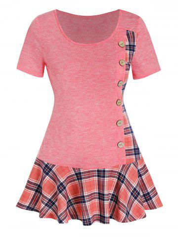 Checked Panel Mock Button Skirted T Shirt