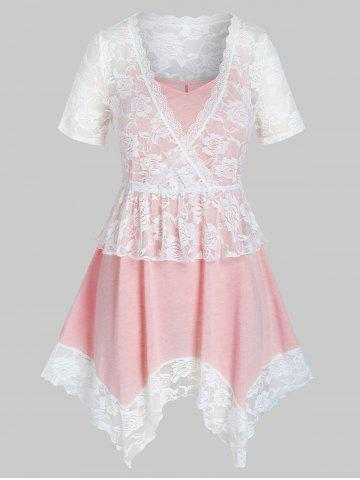 Plus Size Lace See Thru Top and Hanky Hem Cami Top Set - LIGHT PINK - 2X