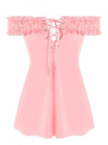 Plus Size Ruffled Off Shoulder Lace Up T Shirt - PIG PINK - 5X