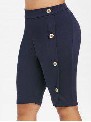 High Waisted Mock Buttons Plus Size Knee Length Shorts -