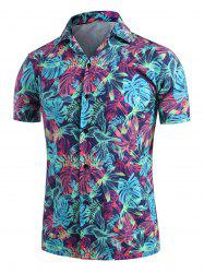 Palm Leaves Print Camp Collar Button Up Shirt -