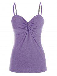 Plus Size Ruched Chain Strap Tank Top -
