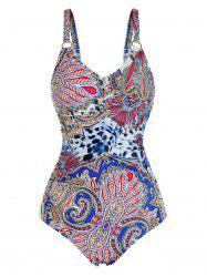 Plus Size Full Print Ruched One-piece Swimsuit -