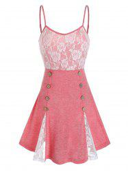 Lace Panel Sailor Buttons Backless Cami Top -