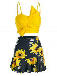 Plus Size Sunflower Flounce Three Pieces Skirted Tankini Swimwear -