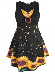 Sleeveless O-ring Ruched Sunflower Plus Size Dress -