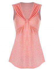 Pure Color V Neck Ruched Tank Top -