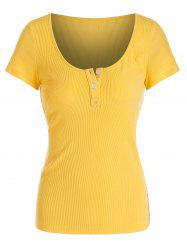 Solid Button Ribbed Scoop Collar T-shirt -