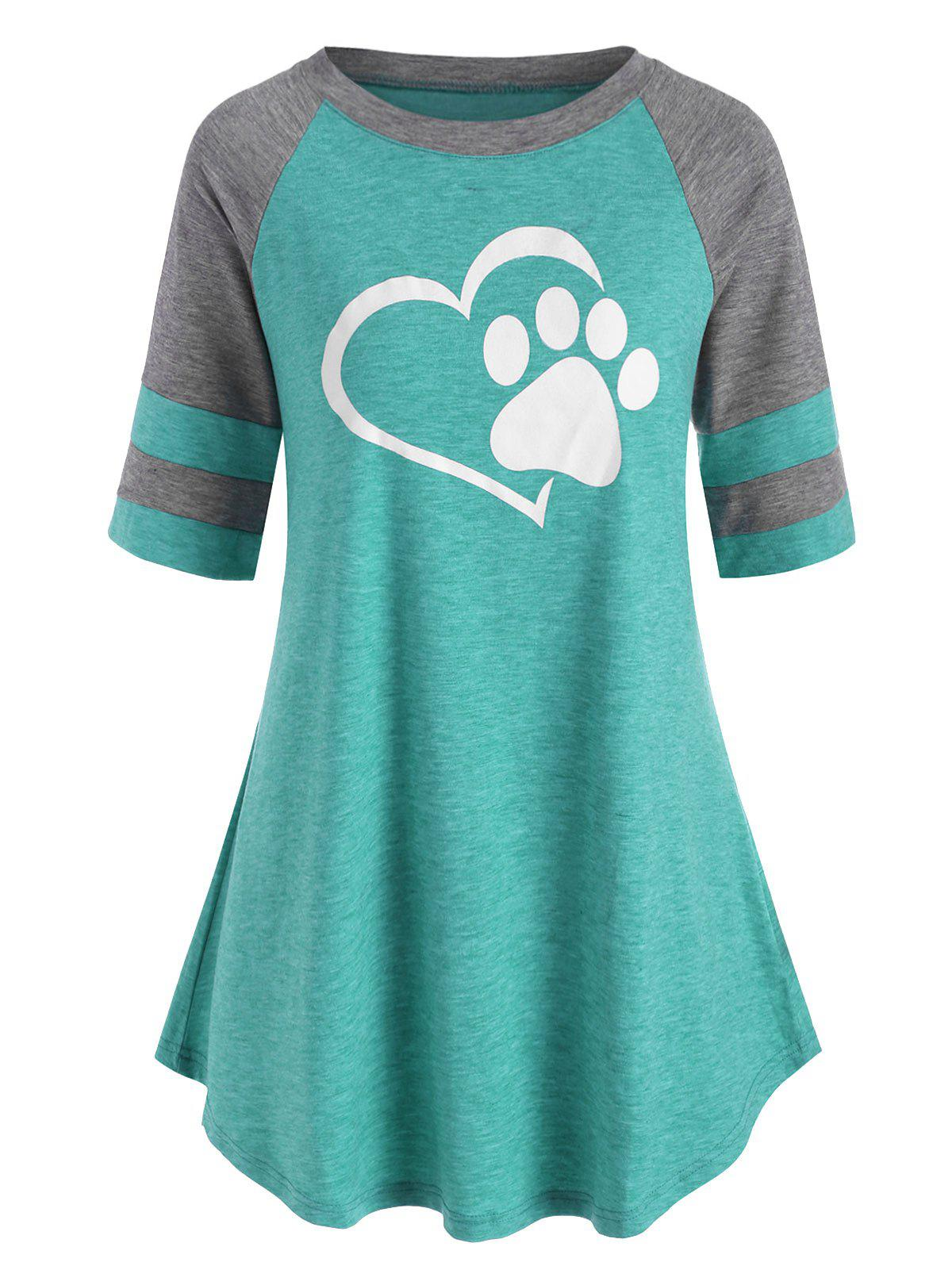 Plus Size Contrast Color Raglan Sleeve Graphic T Shirt Rosegal