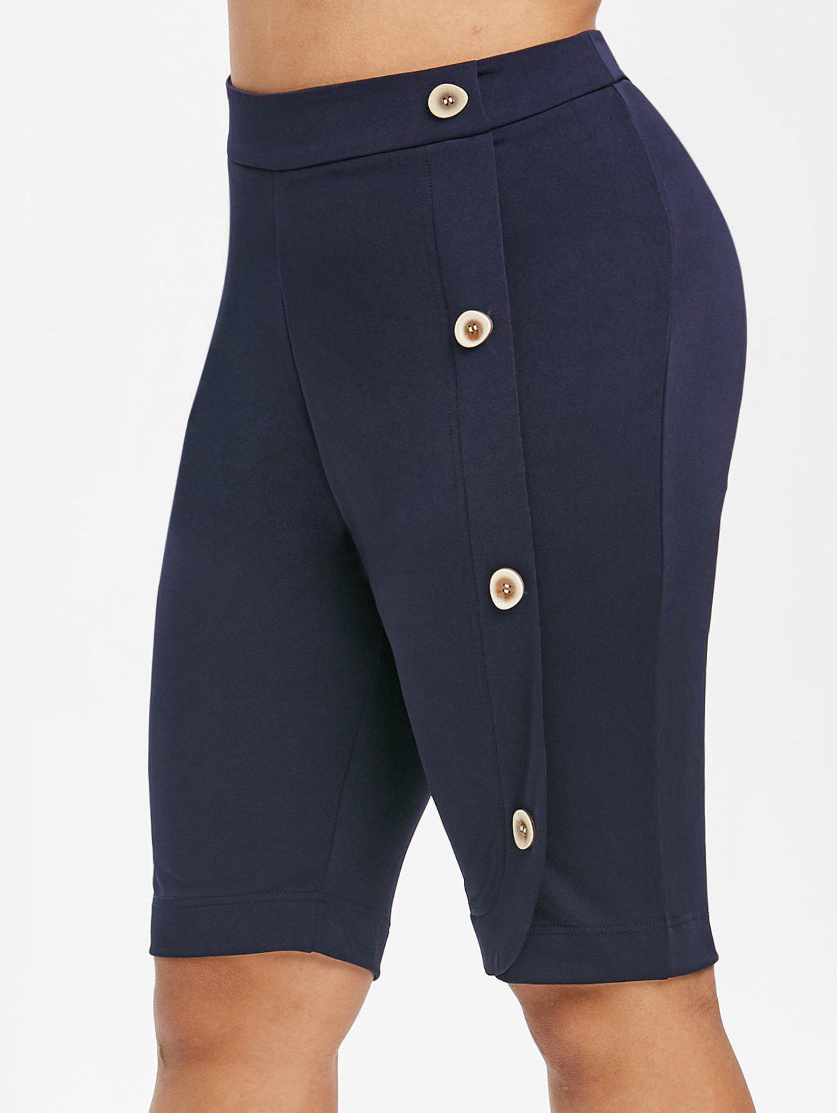 New High Waisted Mock Buttons Plus Size Knee Length Shorts