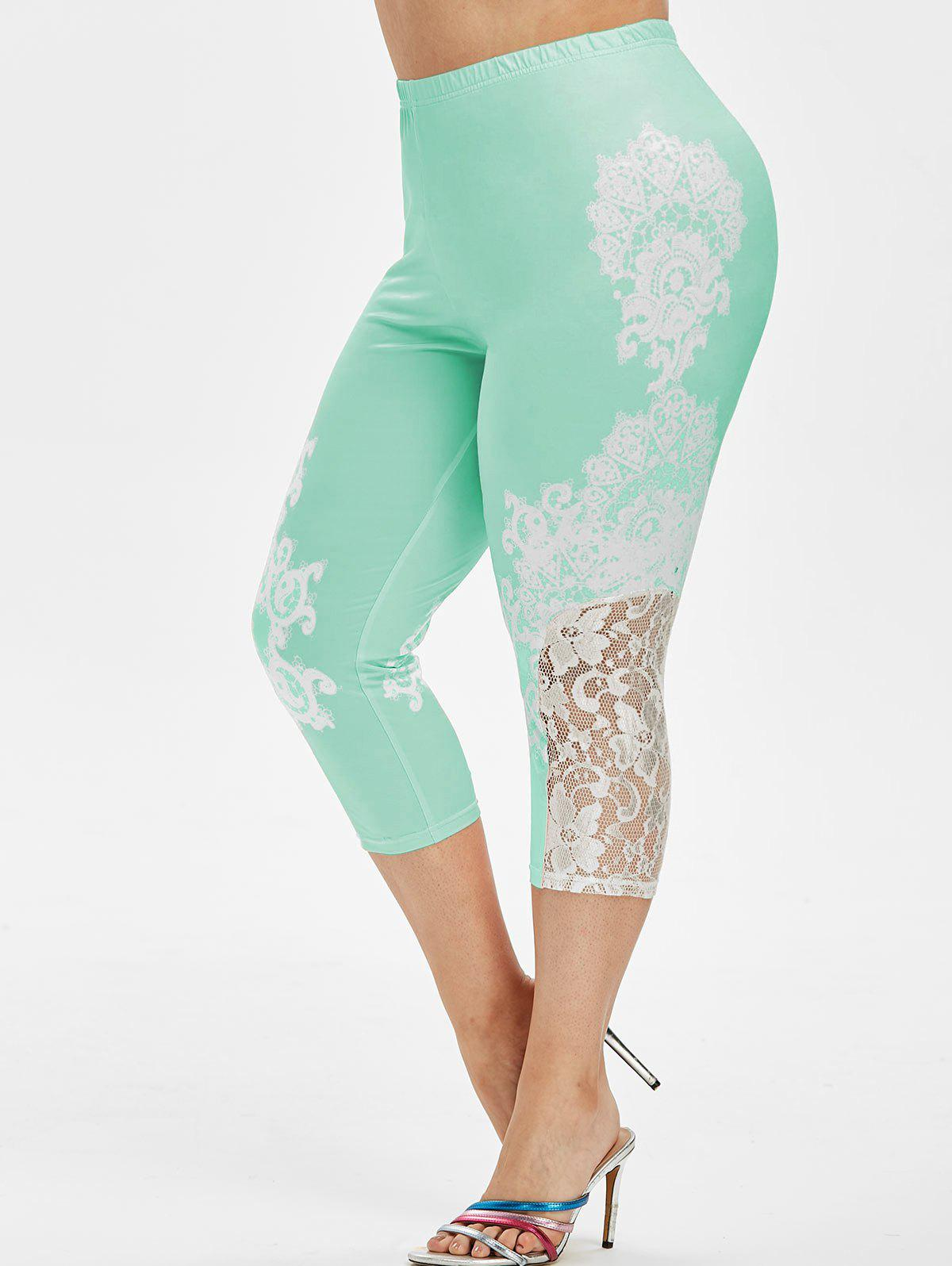 Affordable High Waisted Printed Lace Panel Plus Size Capri Leggings