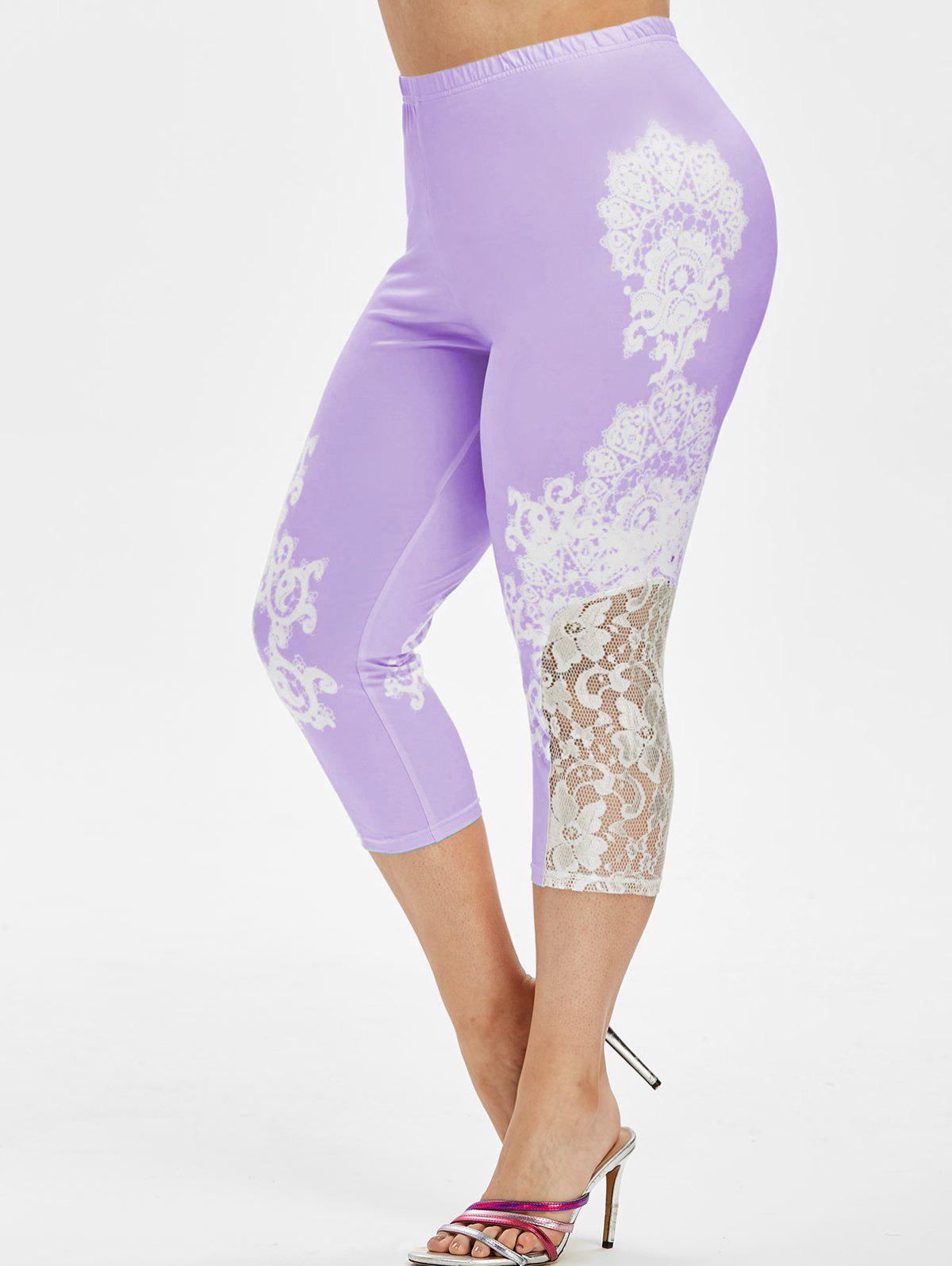 New High Waisted Printed Lace Panel Plus Size Capri Leggings