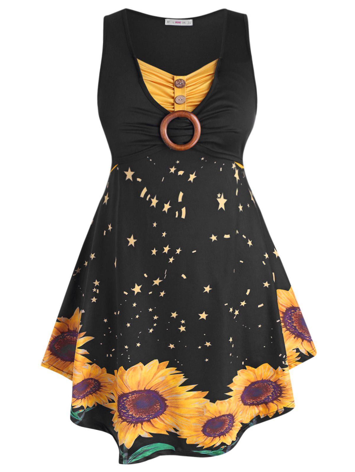 Discount Sleeveless O-ring Ruched Sunflower Plus Size Dress