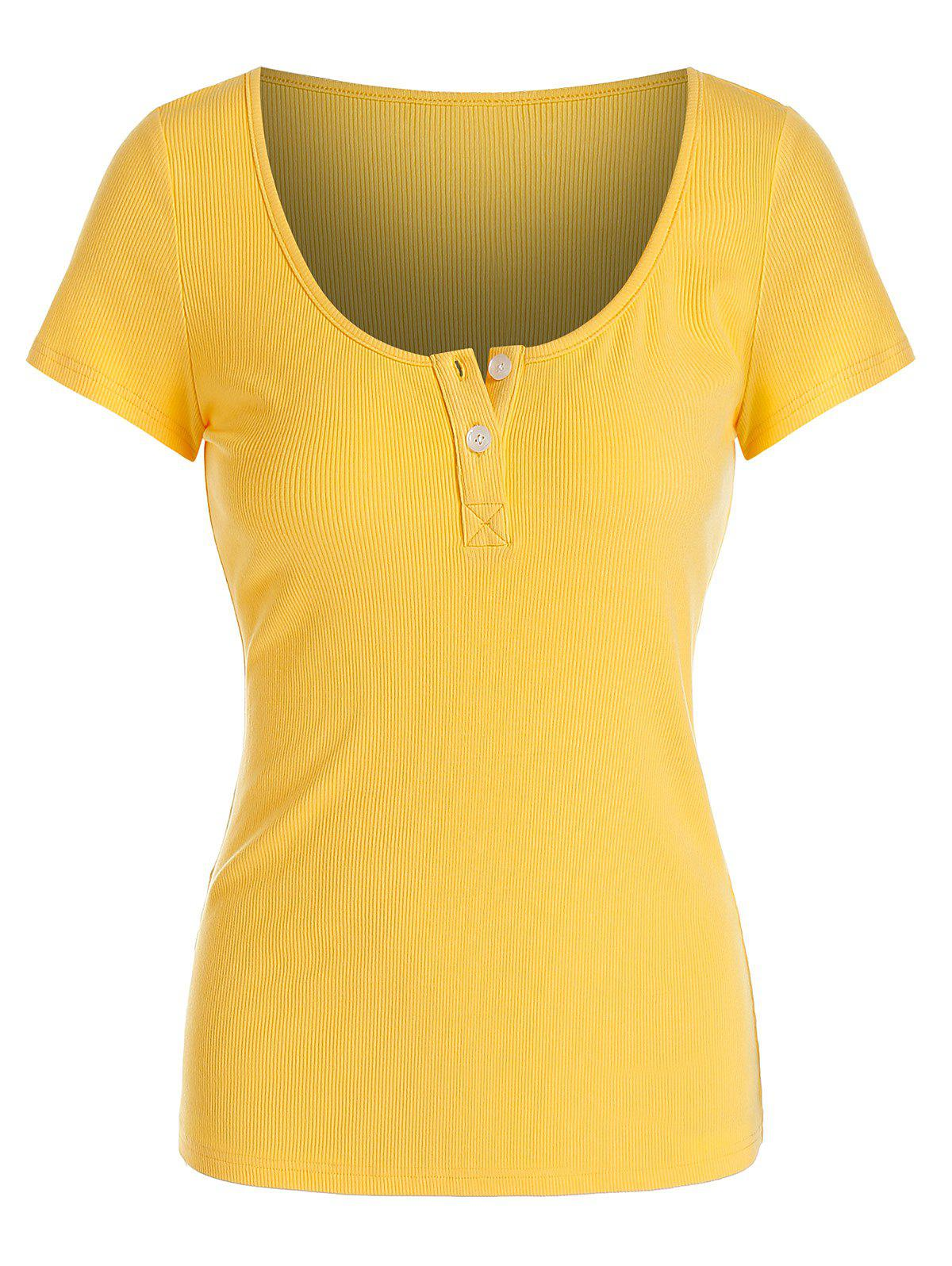 Trendy Solid Button Ribbed Scoop Collar T-shirt