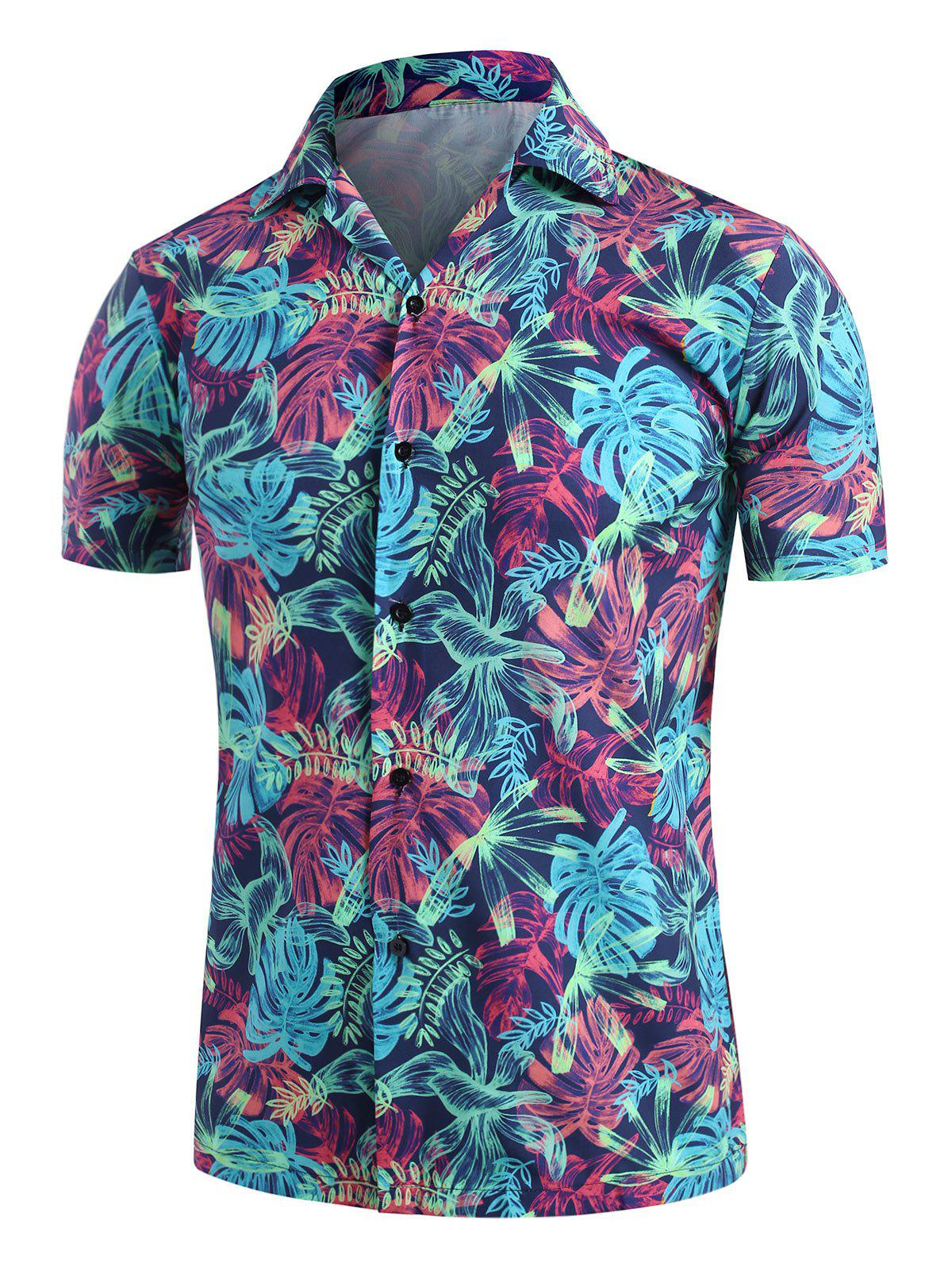 Buy Palm Leaves Print Camp Collar Button Up Shirt