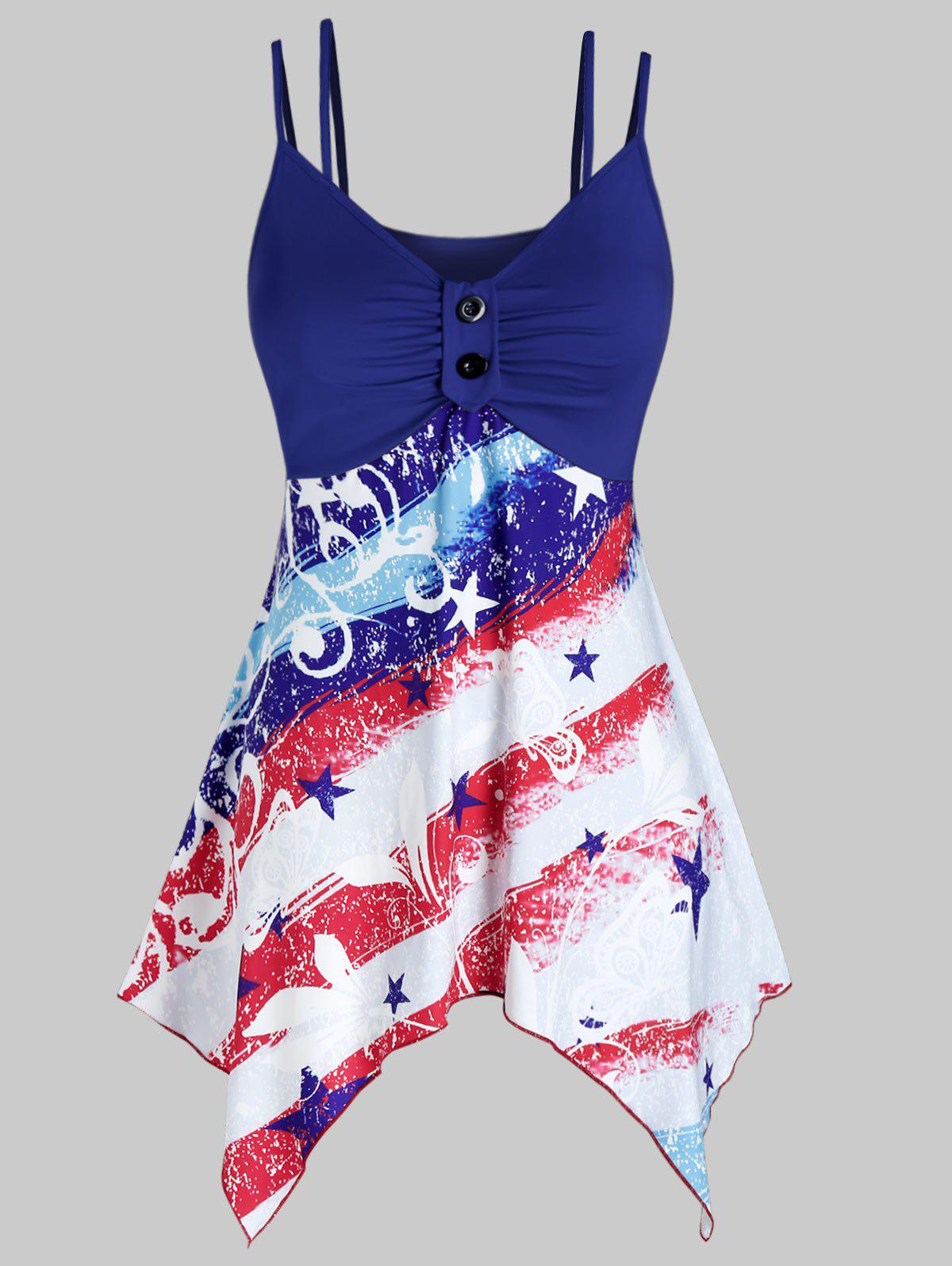 Sale Plus Size American Flag Handkerchief Ruched Dual Strap Cami Top