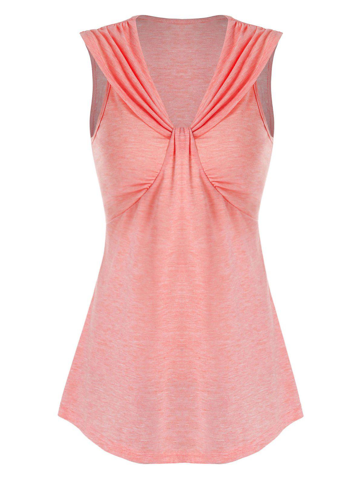 Best Pure Color V Neck Ruched Tank Top