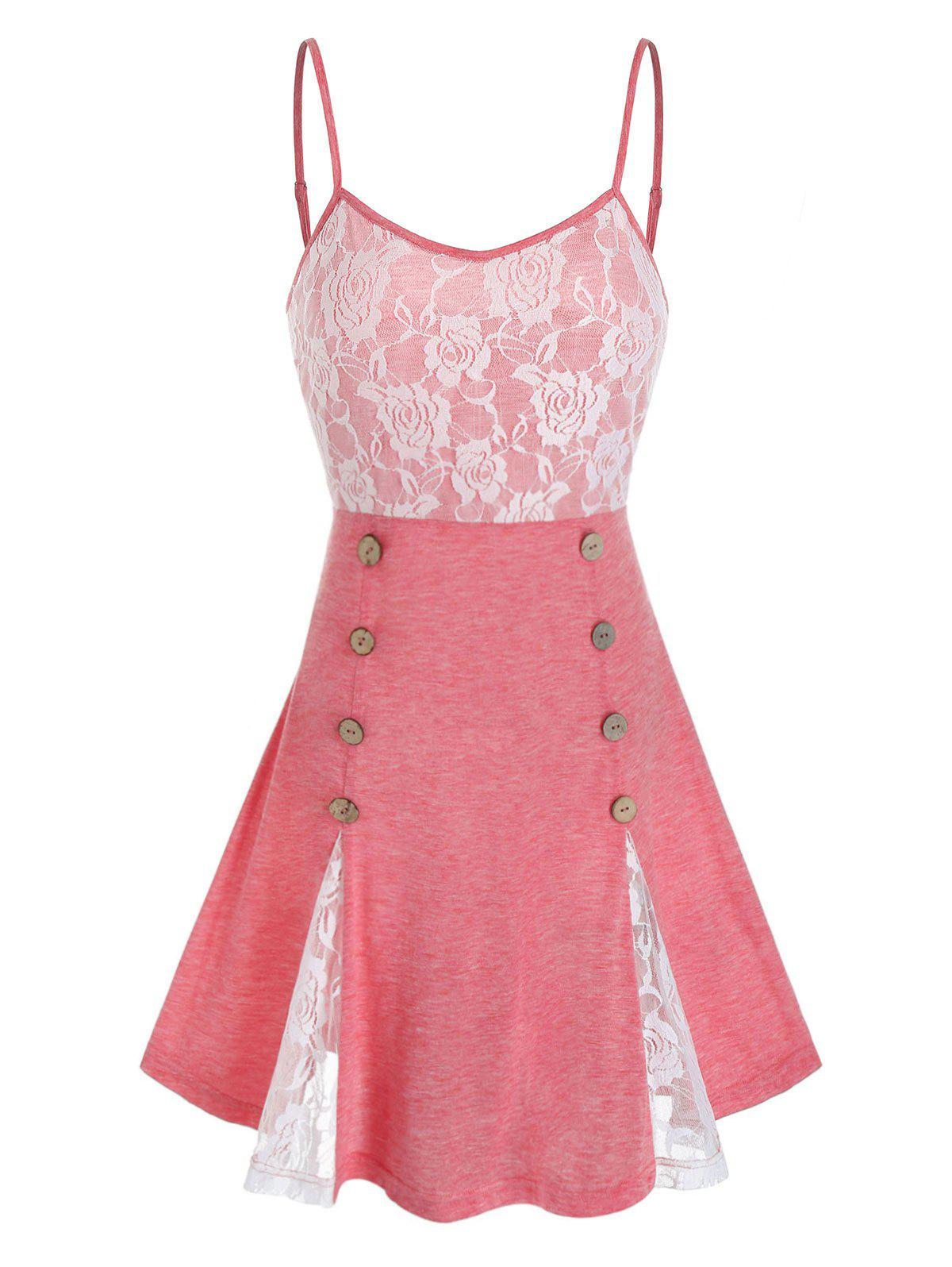 Chic Lace Panel Sailor Buttons Backless Cami Top