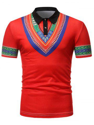Tribal Pattern Print Turn-down Collar T Shirt - RED - 2XL