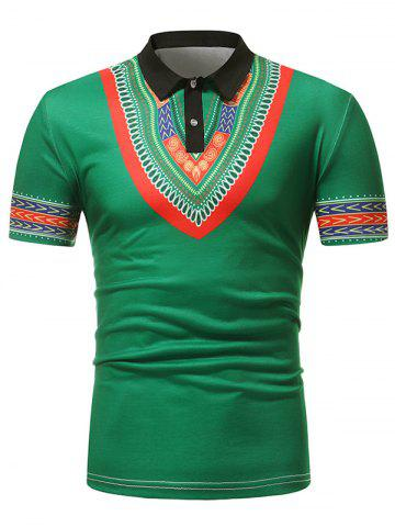 Tribal Pattern Print Turn-down Collar T Shirt - GREEN - XL