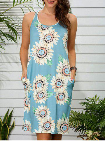 Sunflower Print Side Pocket Tank Dress