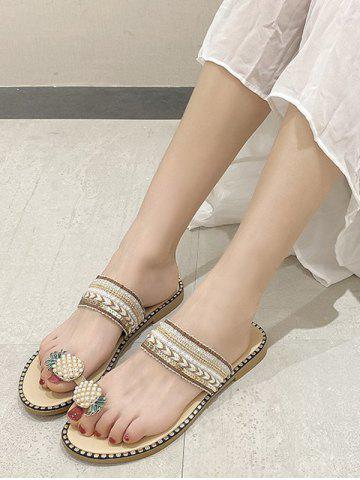 Pineapple Toe Ring Faux Pearl Slides Sandals - BEIGE - EU 40