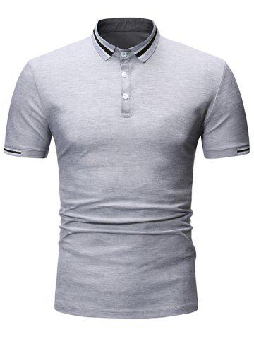 Striped Print Turn-down Collar T-shirt - GRAY - XL
