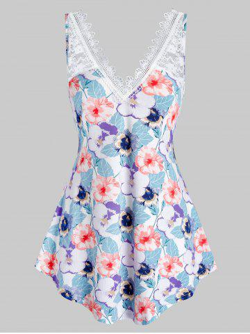 Plus Size Flower Lace Panel Curved Backless Tank Top - BABY BLUE - 5X