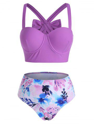 Bowknot Back Floral Push Up Bikini Swimwear